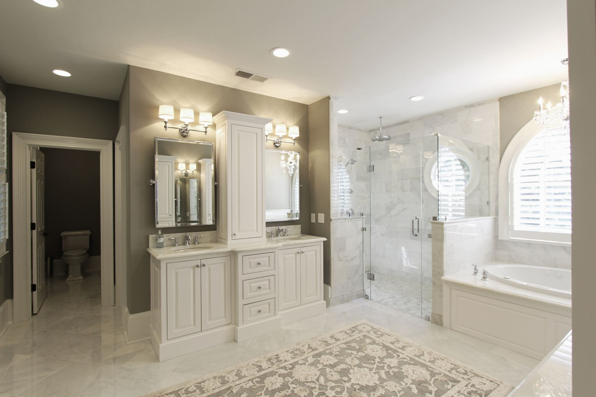 Inset Double Sink Vanity With Center Tower