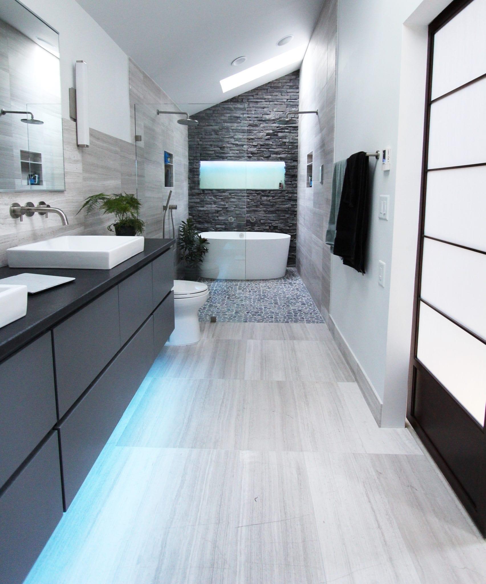 Limestone tile bathroom
