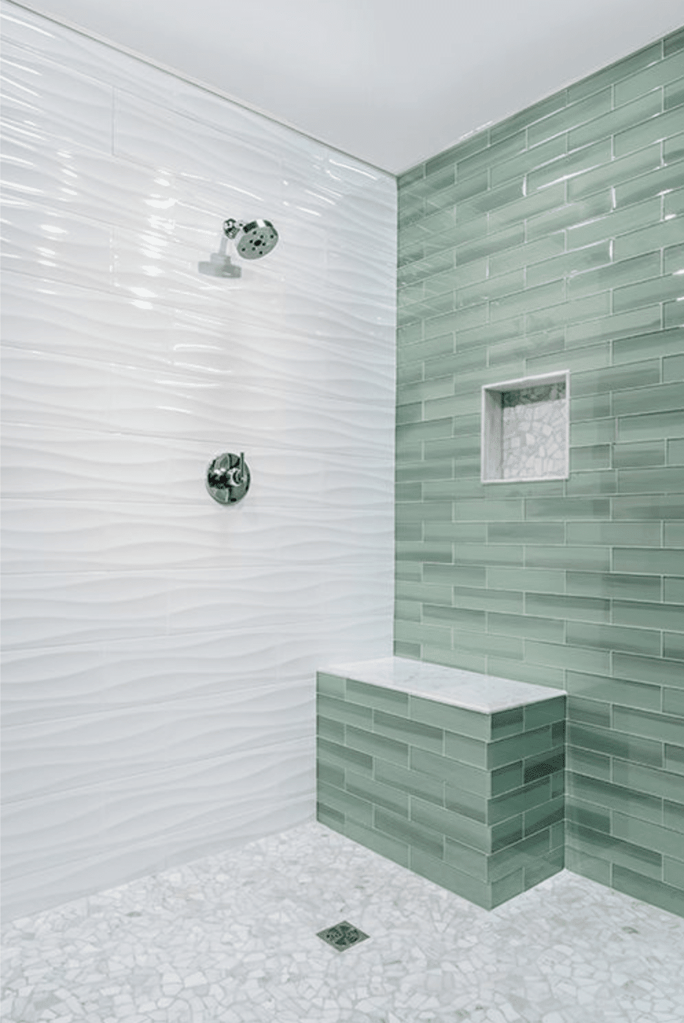 BLANCO WAVES CERAMIC WALL TILE - 8 X 24 IN - Luxury Bathroom Products